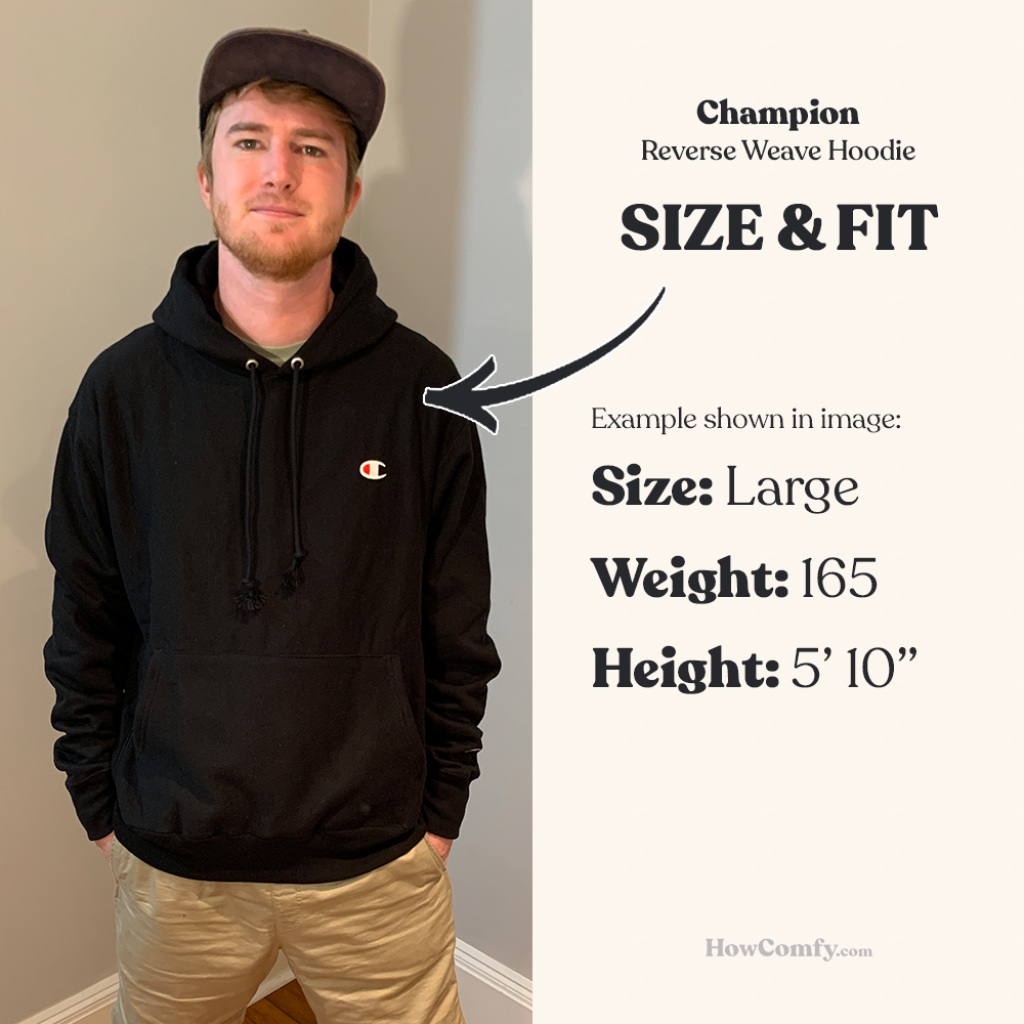 Actual photo of a person wearing champion reverse weave hoodie to show size and fit