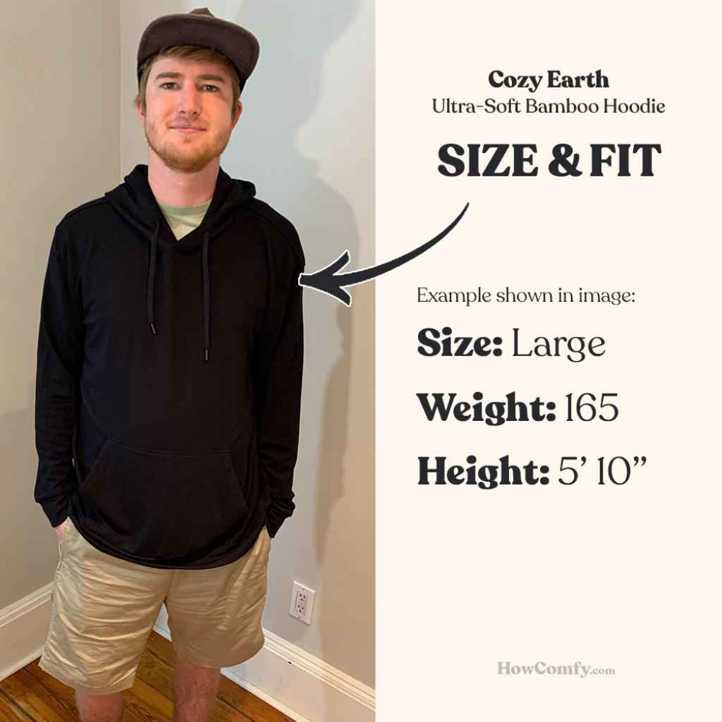 cozy earth bamboo hoodie size and fit real image
