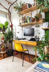 cozy home office with plants