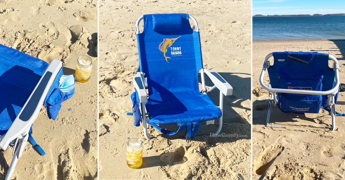 Tommy Bahama backpack cooler beach chair real photos at the beach
